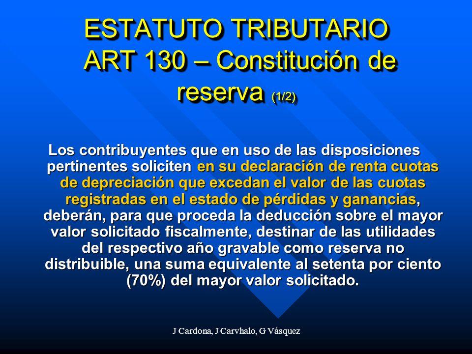 J Cardona, J Carvhalo, G Vásquez ESTATUTO TRIBUTARIO ART 130 – Constitución de reserva (1/2) Los contribuyentes que en uso de las disposiciones pertin