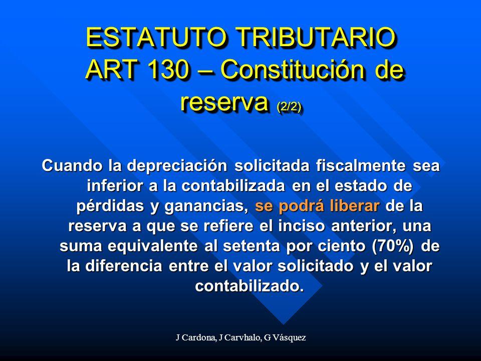 J Cardona, J Carvhalo, G Vásquez Cuando la depreciación solicitada fiscalmente sea inferior a la contabilizada en el estado de pérdidas y ganancias, s