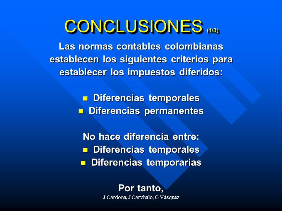 J Cardona, J Carvhalo, G Vásquez CONCLUSIONES (1/3) Las normas contables colombianas establecen los siguientes criterios para establecer los impuestos