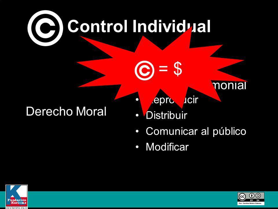 Control Individual Reproducir Distribuir Comunicar al público Modificar Derecho Moral Derecho Patrimonial = $