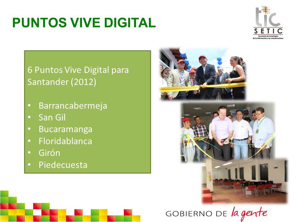 6 Puntos Vive Digital para Santander (2012) Barrancabermeja San Gil Bucaramanga Floridablanca Girón Piedecuesta PUNTOS VIVE DIGITAL