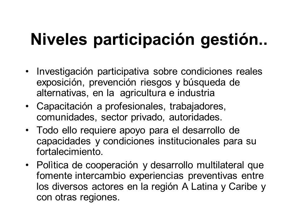 Niveles participación gestión.. Investigación participativa sobre condiciones reales exposición, prevención riesgos y búsqueda de alternativas, en la