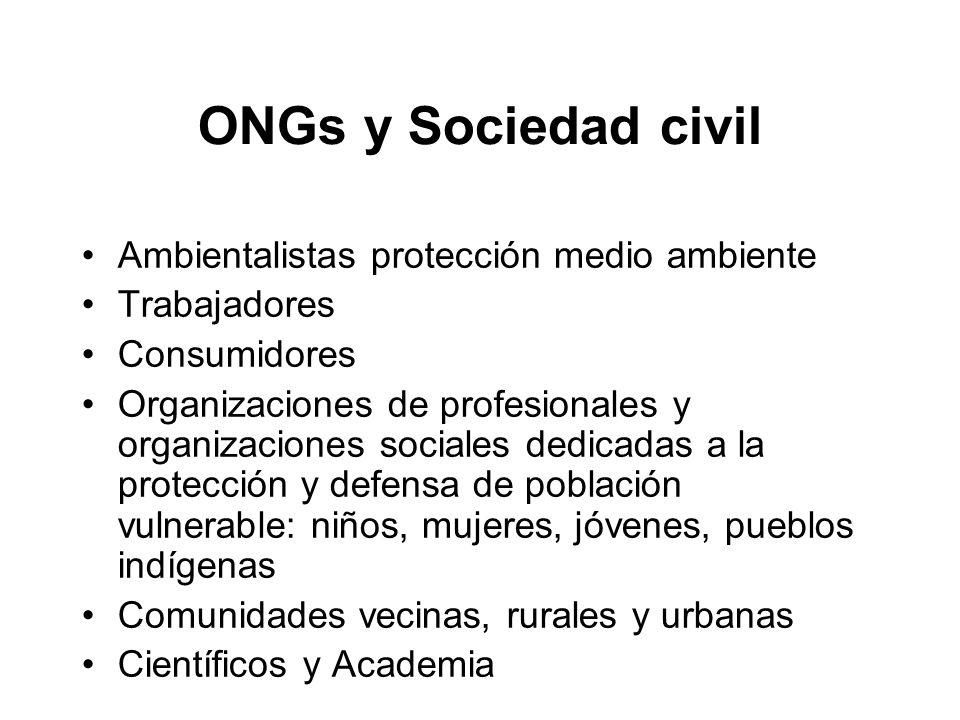 ONGs y Sociedad civil Ambientalistas protección medio ambiente Trabajadores Consumidores Organizaciones de profesionales y organizaciones sociales ded