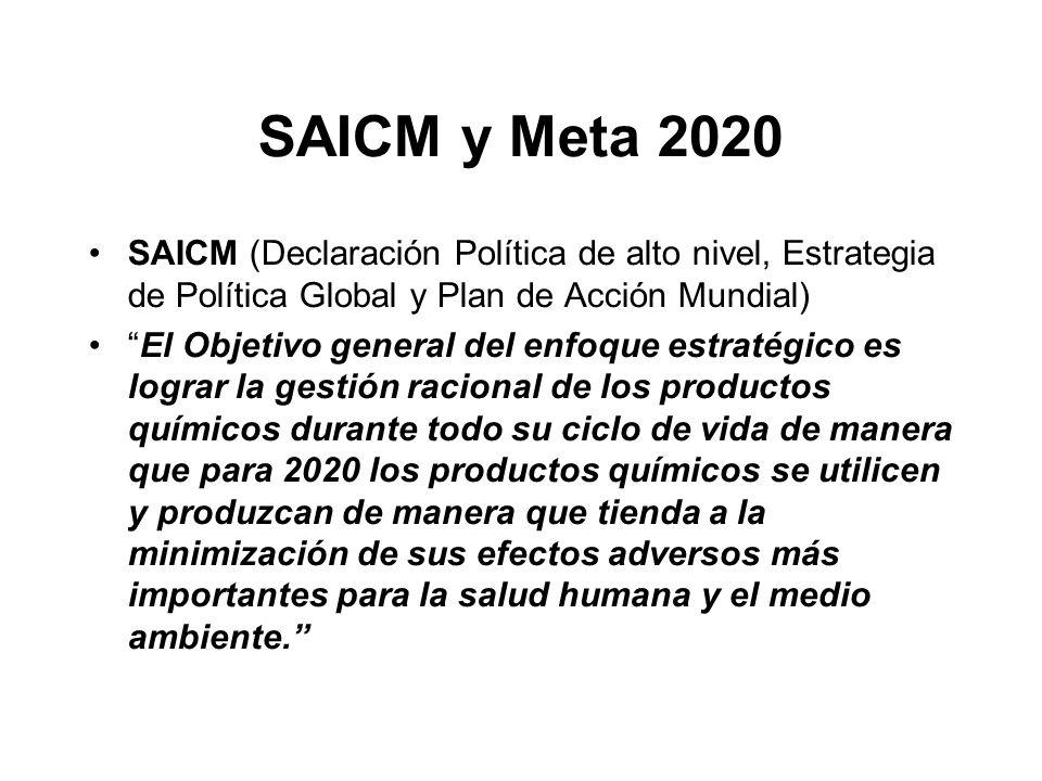 SAICM y Meta 2020 SAICM (Declaración Política de alto nivel, Estrategia de Política Global y Plan de Acción Mundial) El Objetivo general del enfoque e