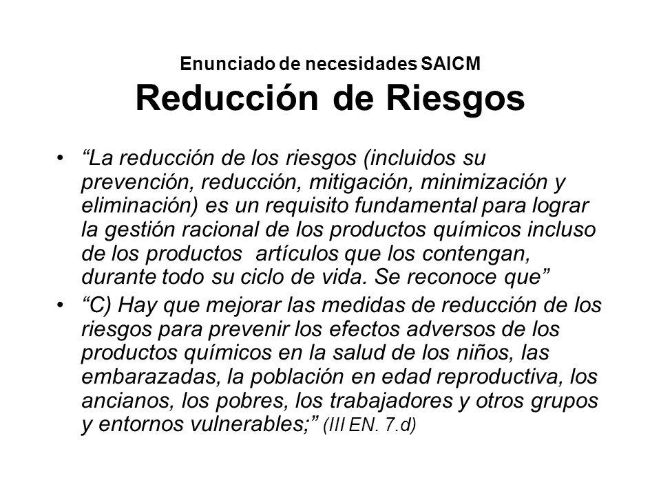 Objetivos SAICM Reducción de riesgos Reducir al mínimo los riesgos para la salud humana, incluida la de los trabajadores, y para el medio ambiente durante todo el ciclo de vida Aplicar estrategias de gestión de los riesgos, transparentes, amplias, eficaces y eficientes (..) encaminadas a prevenir la contaminación, reducir y eliminar los riesgos con Asegurar para 2010.