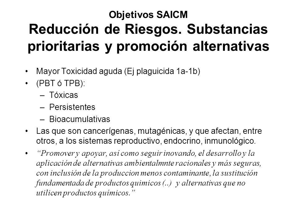 Objetivos SAICM Reducción de Riesgos. Substancias prioritarias y promoción alternativas Mayor Toxicidad aguda (Ej plaguicida 1a-1b) (PBT ó TPB): –Tóxi