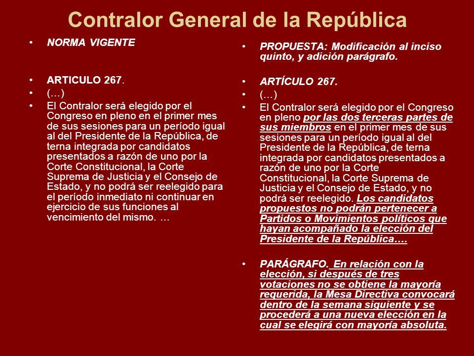 Contralor General de la República NORMA VIGENTE ARTICULO 267.