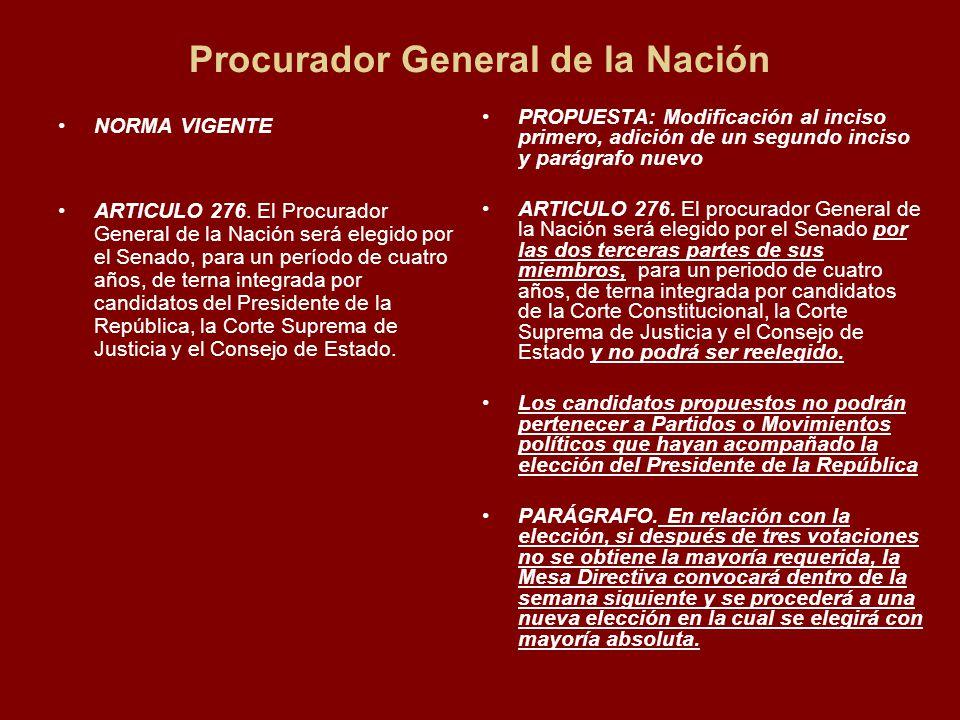 Procurador General de la Nación NORMA VIGENTE ARTICULO 276.