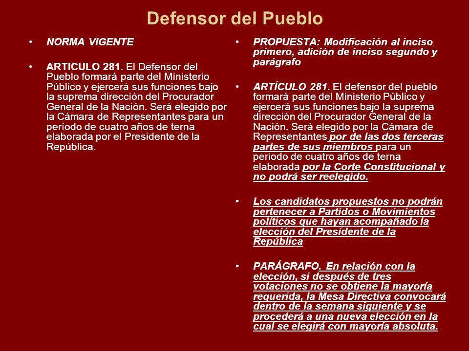 Defensor del Pueblo NORMA VIGENTE ARTICULO 281.