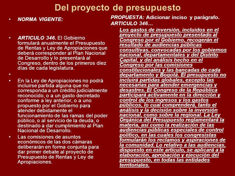 Del proyecto de presupuesto NORMA VIGENTE: ARTICULO 346.