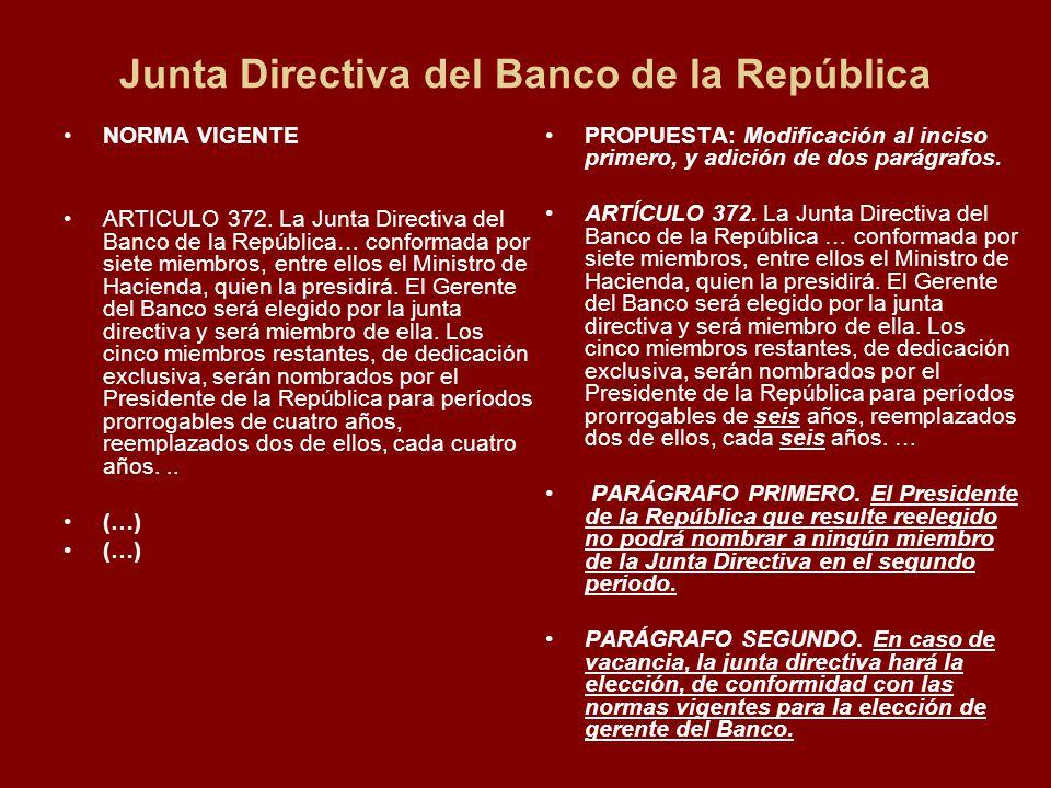 Junta Directiva del Banco de la República NORMA VIGENTE ARTICULO 372.