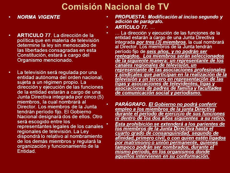 Comisión Nacional de TV NORMA VIGENTE ARTICULO 77.