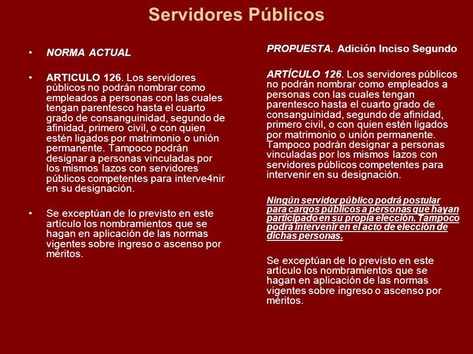 Servidores Públicos NORMA ACTUAL ARTICULO 126.