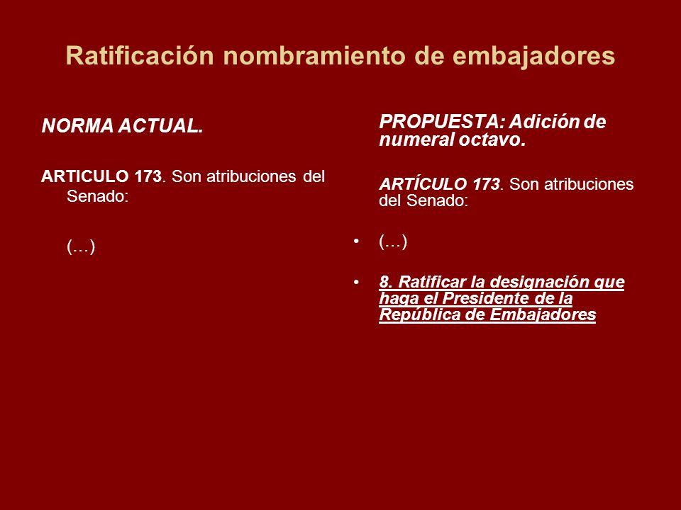 Ratificación nombramiento de embajadores NORMA ACTUAL.