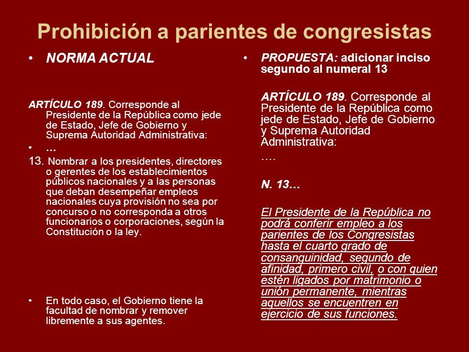 Prohibición a parientes de congresistas NORMA ACTUAL ARTÍCULO 189.