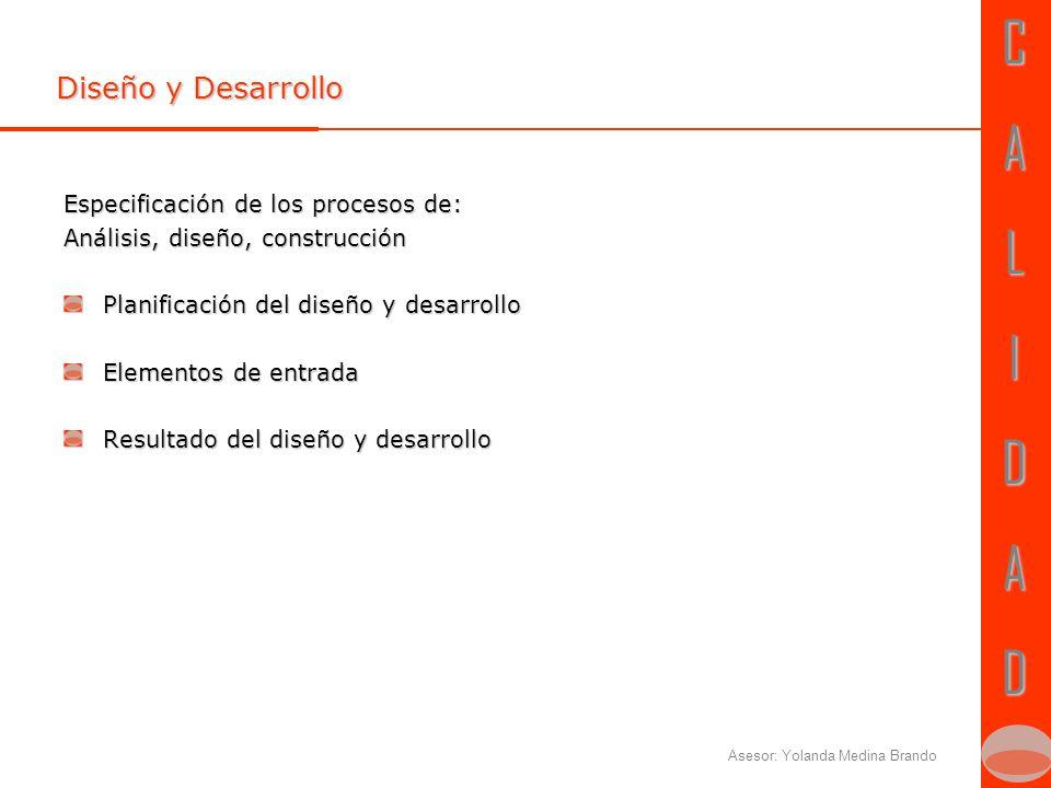 CALIDADCALIDAD Asesor: Yolanda Medina Brando Diseño y Desarrollo Especificación de los procesos de: Análisis, diseño, construcción Planificación del diseño y desarrollo Elementos de entrada Resultado del diseño y desarrollo