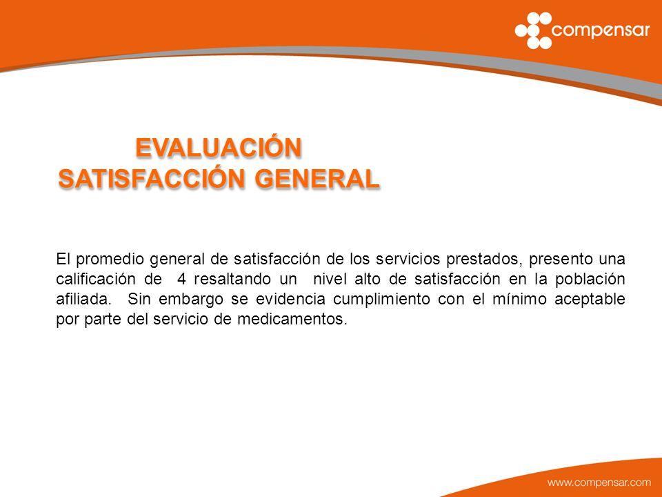 EVALUACIÓN SATISFACCIÓN GENERAL El promedio general de satisfacción de los servicios prestados, presento una calificación de 4 resaltando un nivel alt