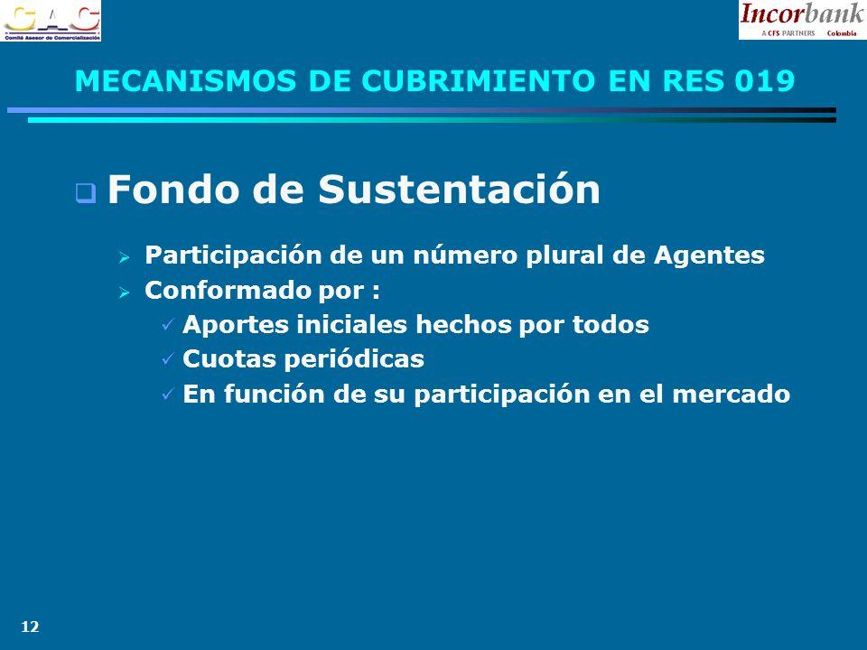 12 MECANISMOS DE CUBRIMIENTO EN RES 019 Fondo de Sustentación Participación de un número plural de Agentes Conformado por : Aportes iniciales hechos por todos Cuotas periódicas En función de su participación en el mercado