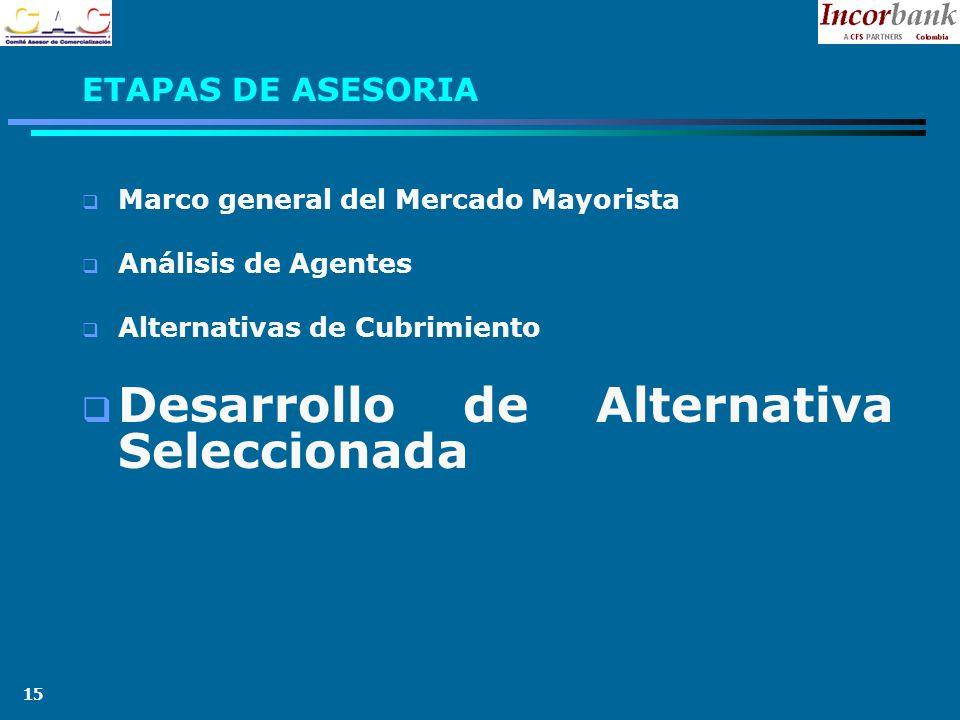 15 ETAPAS DE ASESORIA Marco general del Mercado Mayorista Análisis de Agentes Alternativas de Cubrimiento Desarrollo de Alternativa Seleccionada