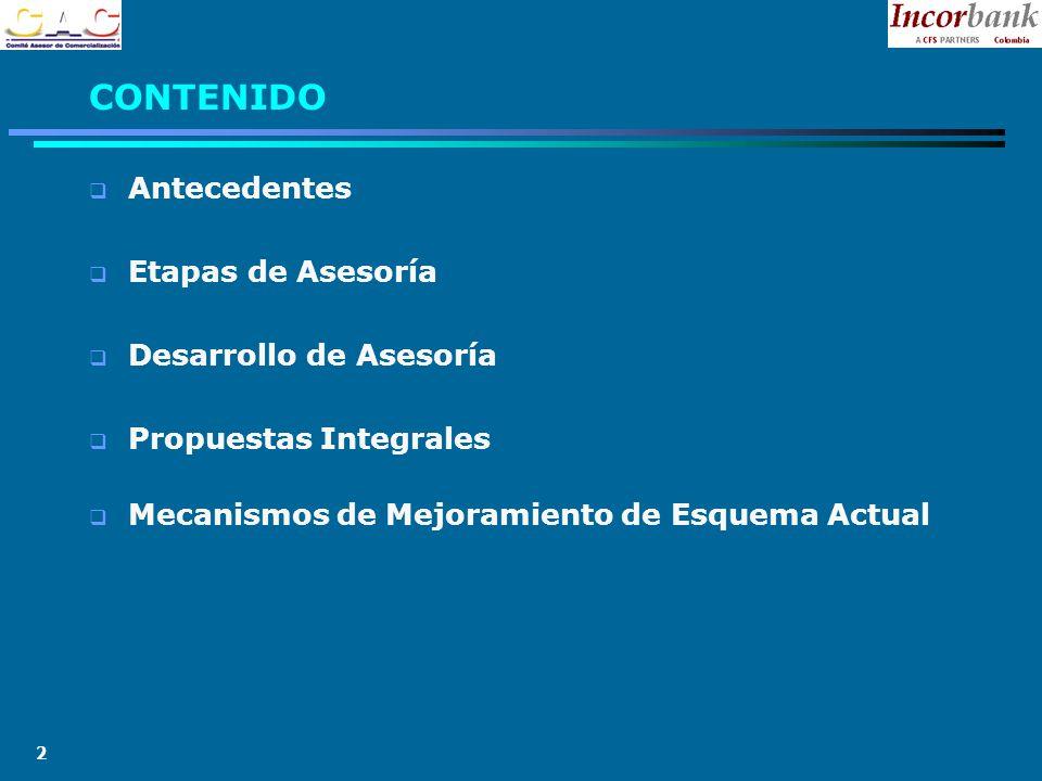 2 CONTENIDO Antecedentes Etapas de Asesoría Desarrollo de Asesoría Propuestas Integrales Mecanismos de Mejoramiento de Esquema Actual