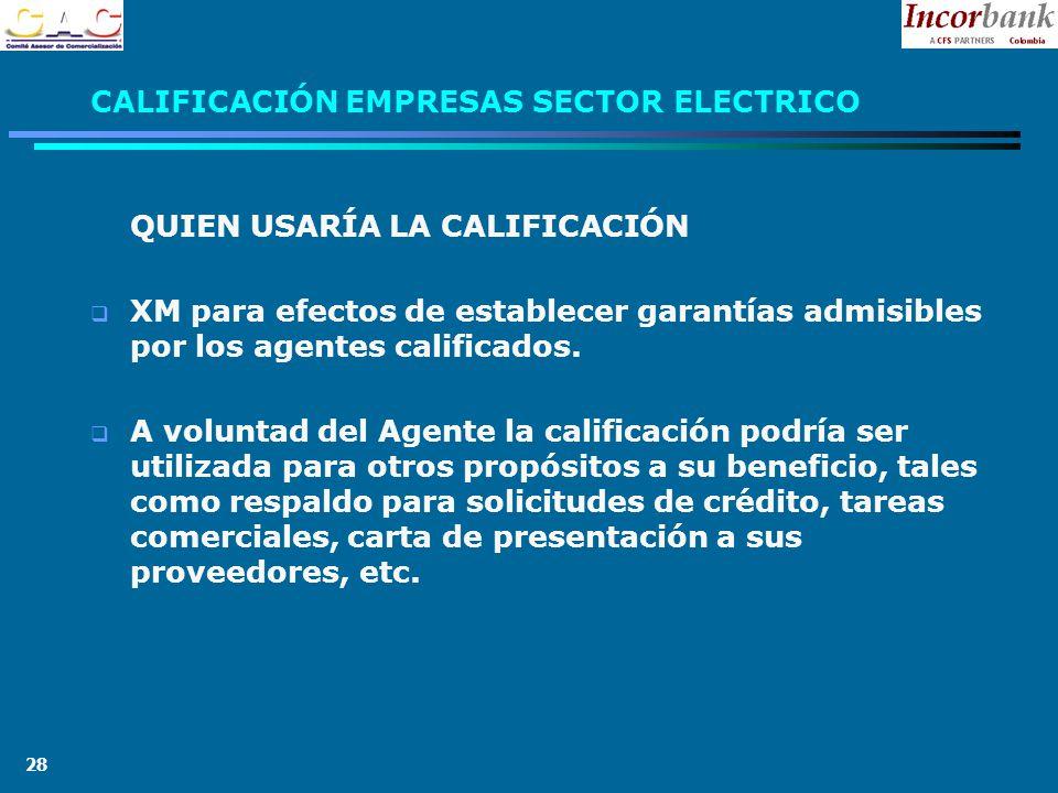 28 CALIFICACIÓN EMPRESAS SECTOR ELECTRICO QUIEN USARÍA LA CALIFICACIÓN XM para efectos de establecer garantías admisibles por los agentes calificados.