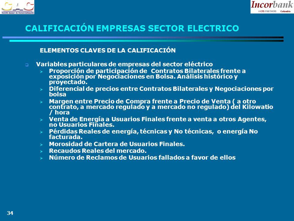 34 CALIFICACIÓN EMPRESAS SECTOR ELECTRICO ELEMENTOS CLAVES DE LA CALIFICACIÓN Variables particulares de empresas del sector eléctrico Proporción de participación de Contratos Bilaterales frente a exposición por Negociaciones en Bolsa.