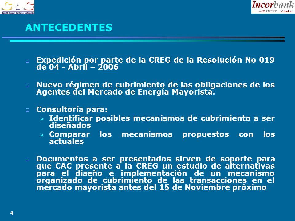 4 Expedición por parte de la CREG de la Resolución No 019 de 04 - Abril – 2006 Nuevo régimen de cubrimiento de las obligaciones de los Agentes del Mercado de Energía Mayorista.