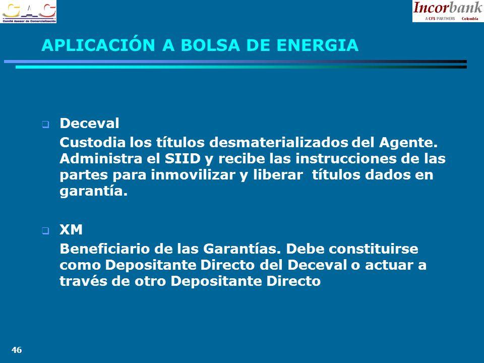 46 APLICACIÓN A BOLSA DE ENERGIA Deceval Custodia los títulos desmaterializados del Agente.