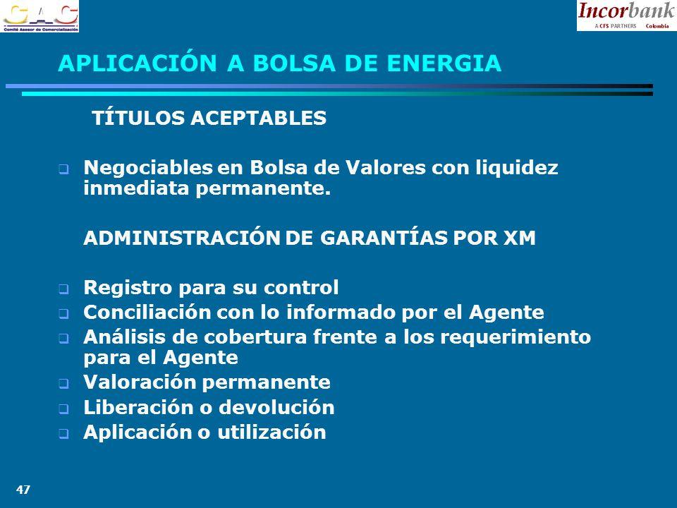 47 APLICACIÓN A BOLSA DE ENERGIA TÍTULOS ACEPTABLES Negociables en Bolsa de Valores con liquidez inmediata permanente.