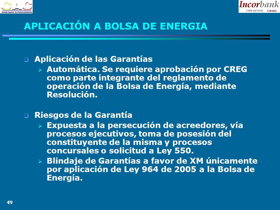 49 APLICACIÓN A BOLSA DE ENERGIA Aplicación de las Garantías Automática.