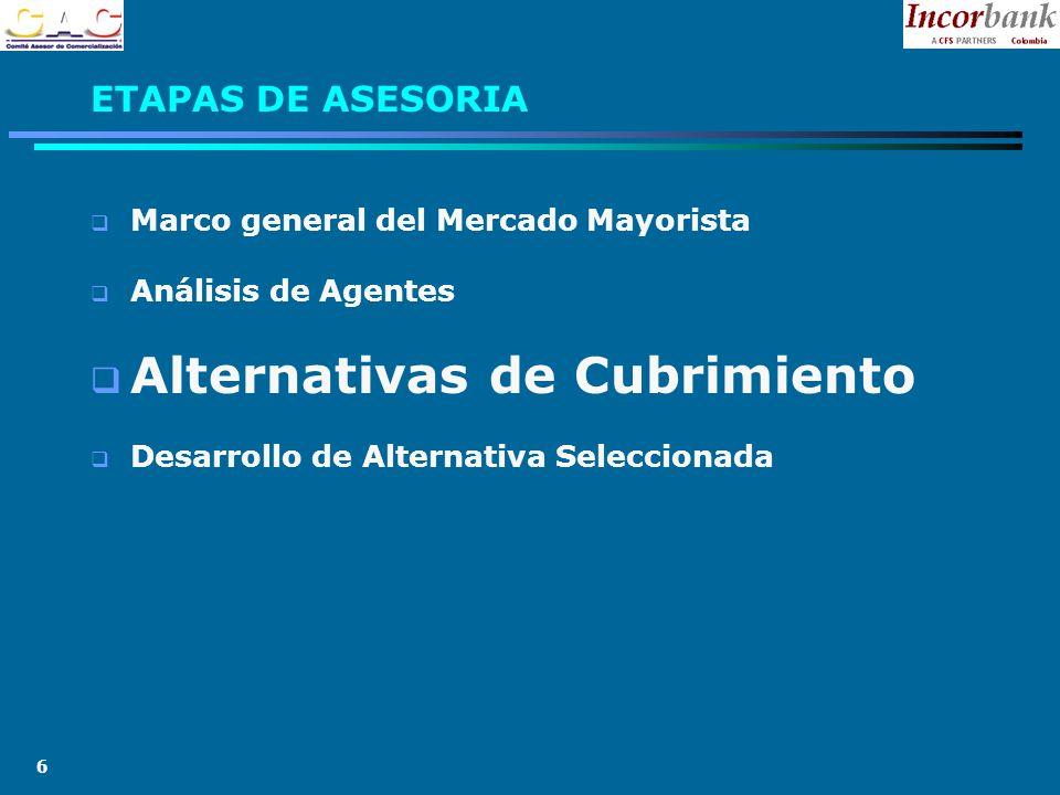 6 Marco general del Mercado Mayorista Análisis de Agentes Alternativas de Cubrimiento Desarrollo de Alternativa Seleccionada