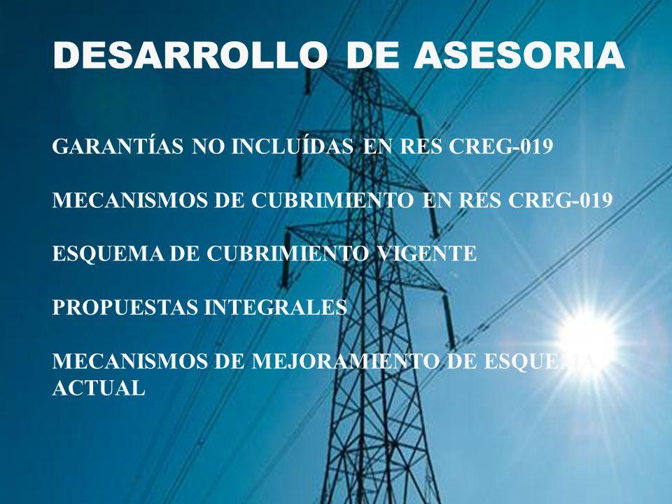 DESARROLLO DE ASESORIA GARANTÍAS NO INCLUÍDAS EN RES CREG-019 MECANISMOS DE CUBRIMIENTO EN RES CREG-019 ESQUEMA DE CUBRIMIENTO VIGENTE PROPUESTAS INTEGRALES MECANISMOS DE MEJORAMIENTO DE ESQUEMA ACTUAL