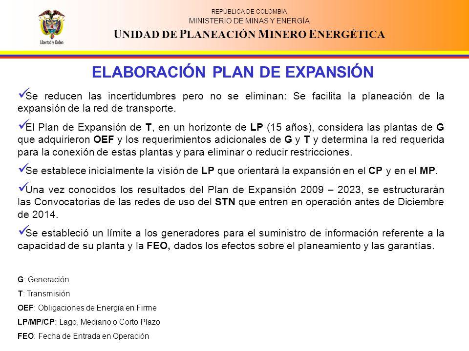 REPÚBLICA DE COLOMBIA MINISTERIO DE MINAS Y ENERGÍA U NIDAD DE P LANEACIÓN M INERO E NERGÉTICA ELABORACIÓN PLAN DE EXPANSIÓN Se reducen las incertidumbres pero no se eliminan: Se facilita la planeación de la expansión de la red de transporte.