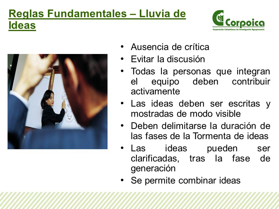 Reglas Fundamentales – Lluvia de Ideas Ausencia de crítica Evitar la discusión Todas la personas que integran el equipo deben contribuir activamente L