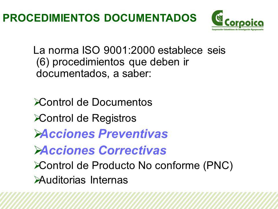 La norma ISO 9001:2000 establece seis (6) procedimientos que deben ir documentados, a saber: Control de Documentos Control de Registros Acciones Preve