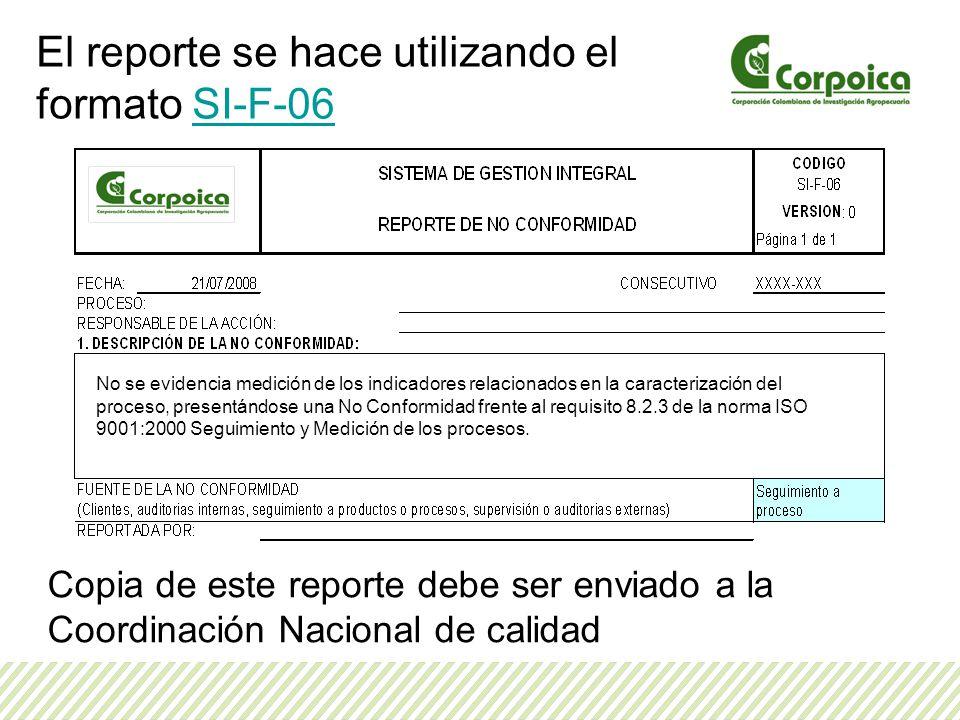 Copia de este reporte debe ser enviado a la Coordinación Nacional de calidad El reporte se hace utilizando el formato SI-F-06SI-F-06 No se evidencia m