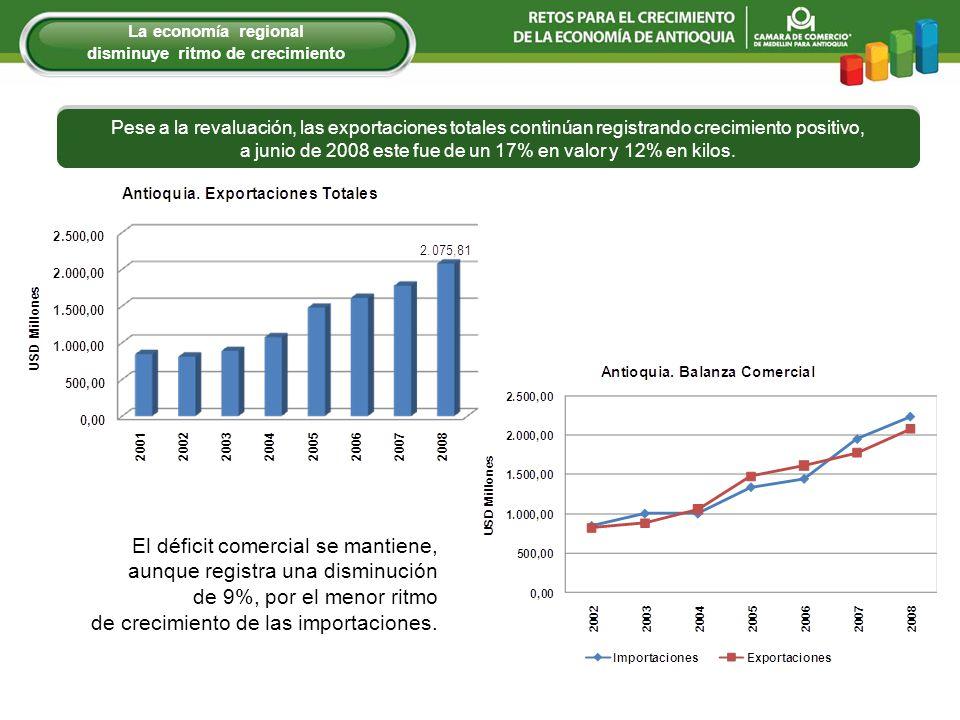 Pese a la revaluación, las exportaciones totales continúan registrando crecimiento positivo, a junio de 2008 este fue de un 17% en valor y 12% en kilo