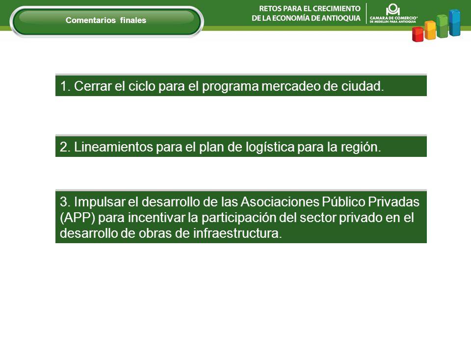 1. Cerrar el ciclo para el programa mercadeo de ciudad. 3. Impulsar el desarrollo de las Asociaciones Público Privadas (APP) para incentivar la partic