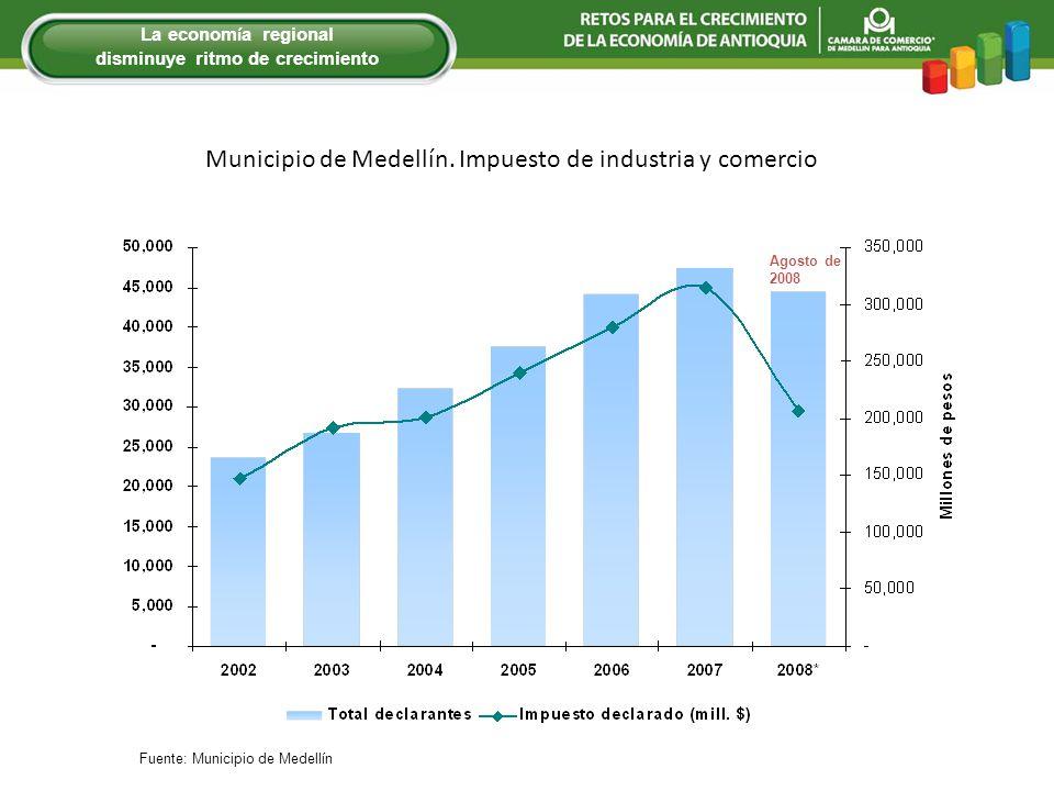 Municipio de Medellín. Impuesto de industria y comercio Agosto de 2008 La econom í a regional disminuye ritmo de crecimiento Fuente: Municipio de Mede