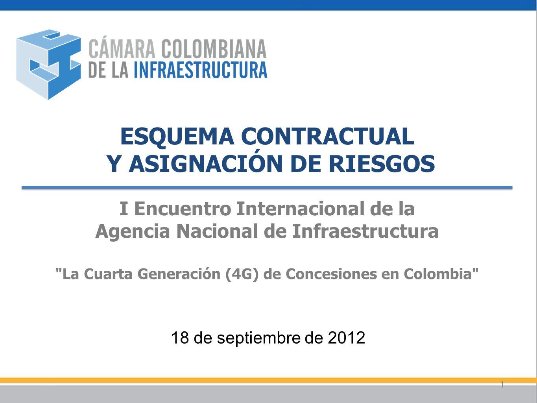 ESQUEMA CONTRACTUAL Y ASIGNACIÓN DE RIESGOS I Encuentro Internacional de la Agencia Nacional de Infraestructura