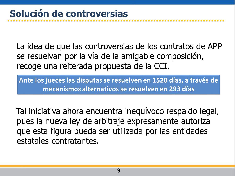 La idea de que las controversias de los contratos de APP se resuelvan por la vía de la amigable composición, recoge una reiterada propuesta de la CCI.