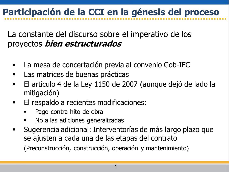 La constante del discurso sobre el imperativo de los proyectos bien estructurados La mesa de concertación previa al convenio Gob-IFC Las matrices de b