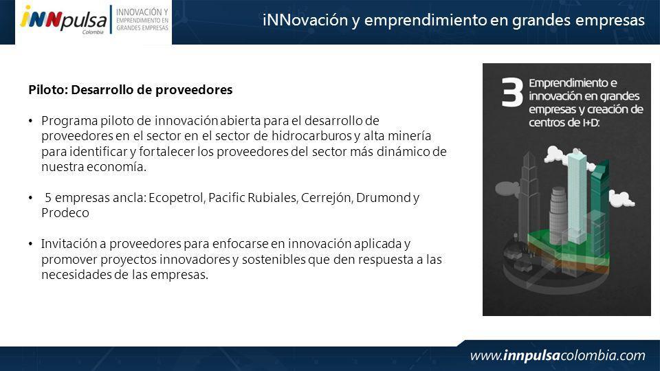 Piloto: Desarrollo de proveedores Programa piloto de innovación abierta para el desarrollo de proveedores en el sector en el sector de hidrocarburos y alta minería para identificar y fortalecer los proveedores del sector más dinámico de nuestra economía.