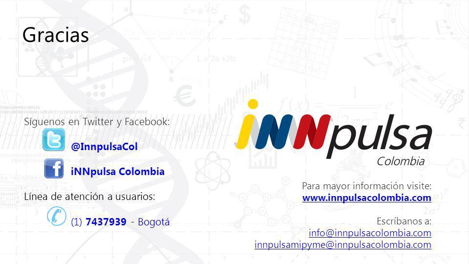 Para mayor información visite: www.innpulsacolombia.com Escríbanos a: info@innpulsacolombia.com innpulsamipyme@innpulsacolombia.com Síguenos en Twitter y Facebook: @InnpulsaCol iNNpulsa Colombia Línea de atención a usuarios: (1) 7437939 - Bogotá Gracias