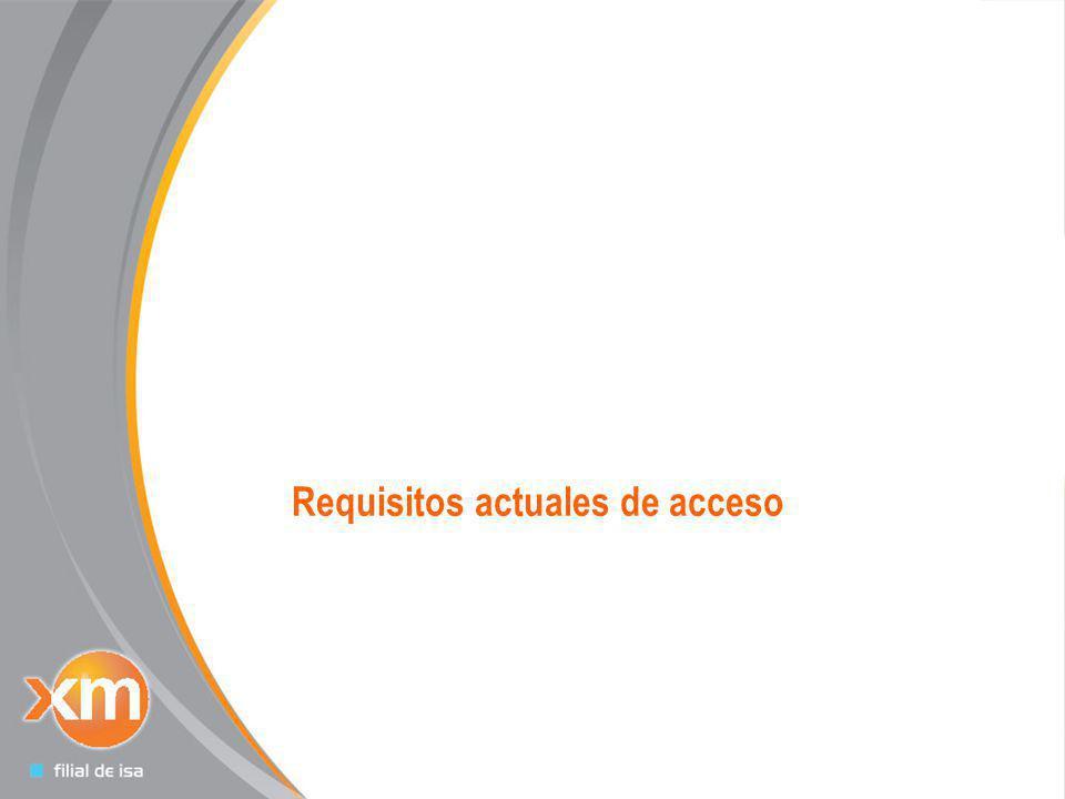 Todos los derechos reservados para XM S.A. E.S.P 4 Requisitos actuales de acceso