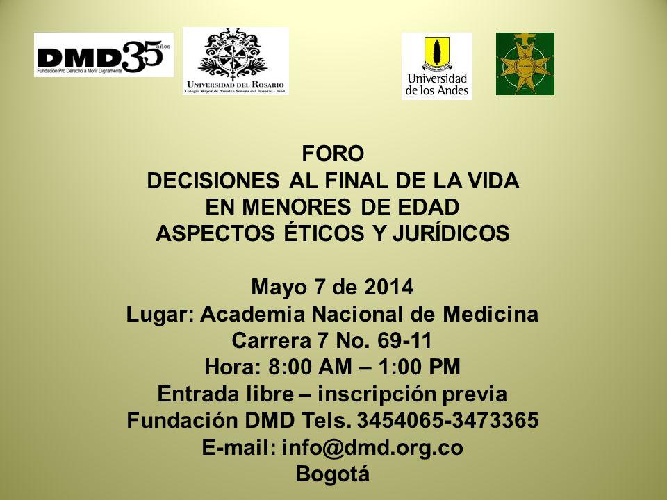 La toma de decisiones al final de la vida implica dilemas de índole ético y jurídico de muy difícil solución.