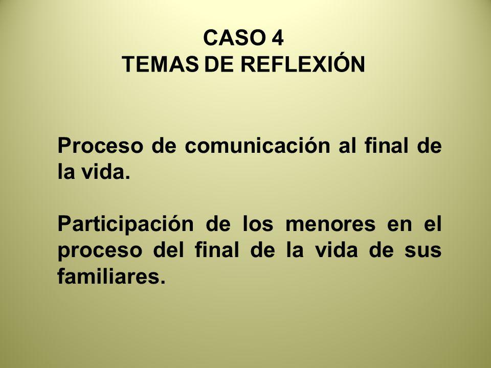 CASO 4 TEMAS DE REFLEXIÓN Proceso de comunicación al final de la vida.