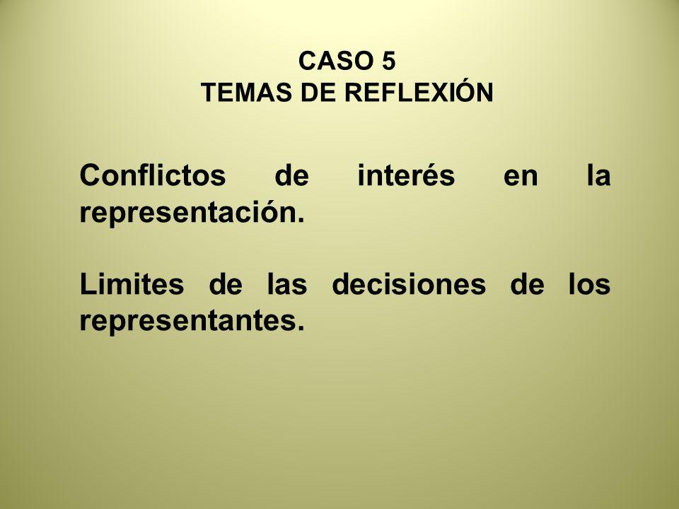CASO 5 TEMAS DE REFLEXIÓN Conflictos de interés en la representación.
