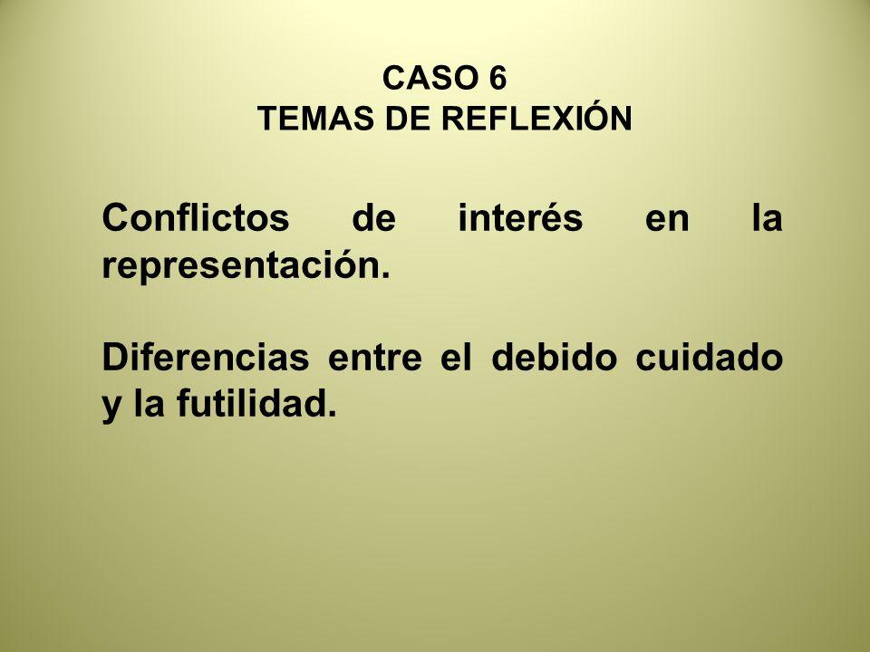 Conflictos de interés en la representación.Diferencias entre el debido cuidado y la futilidad.