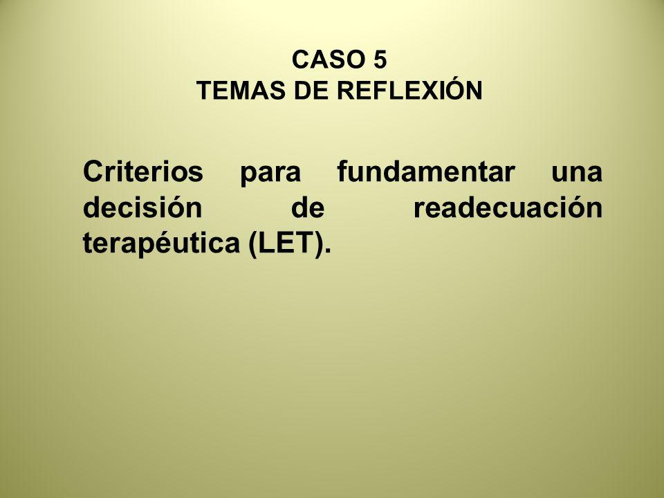 Criterios para fundamentar una decisión de readecuación terapéutica (LET).
